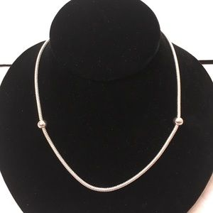 Vintage Liquid Silver Necklace With Silver Beads